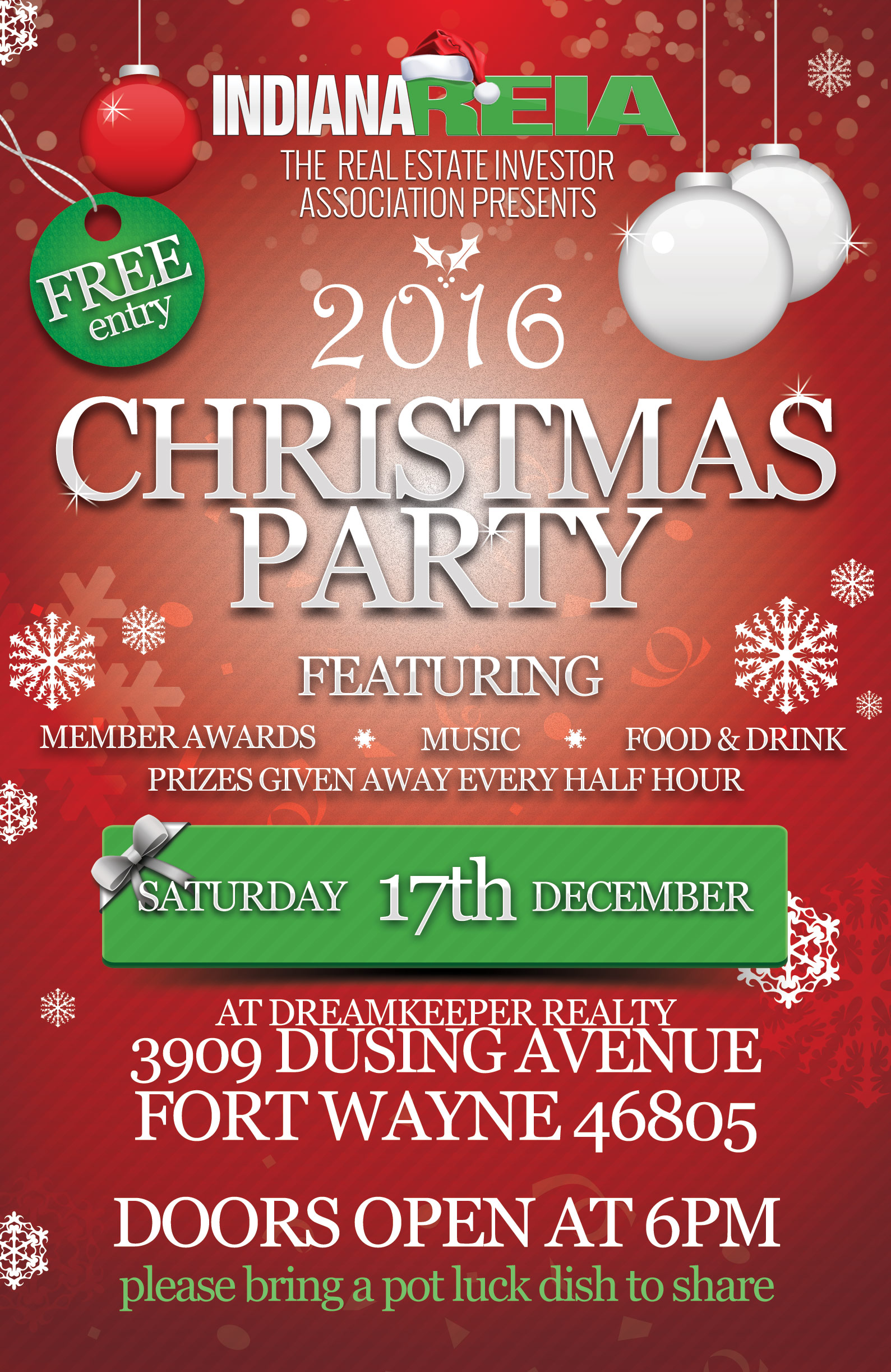 Indiana REIA™ Christmas Party Flyer