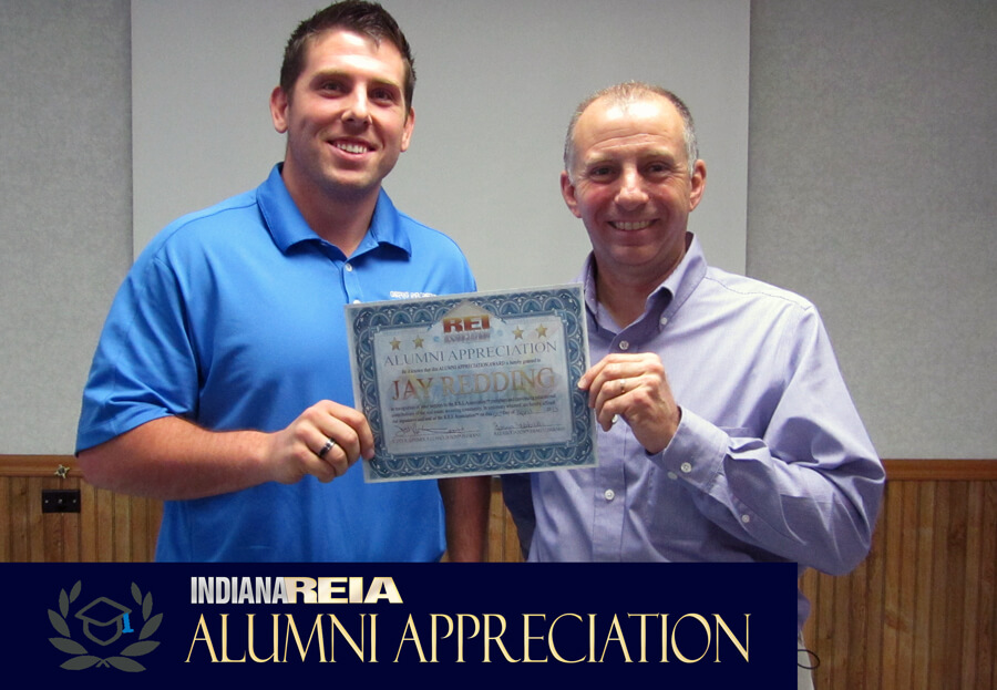 Indiana REIA Alumni Appreciation Award winner at Fort Wayne REIA meeting award ceremony